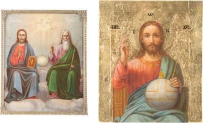 ZWEI IKONEN: NEUTESTAMENTLICH DREIFALTIGKEIT UND CHRISTUS PANTOKRATOR