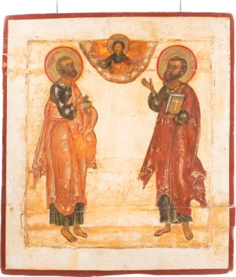 GROSSE DOPPELSEITIGE IKONE MIT DEN APOSTELN PETRUS UND PAULUS UND DER GOTTESMUTTER VON SMOLENSK
