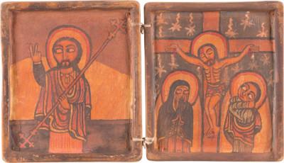 KOPTISCHES DIPTYCHON MIT DER KREUZIGUNG CHRISTI