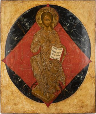 MONUMENTALE IKONE MIT DEM THRONENDEN CHRISTUS ALS WELTENHERRSCHER AUS EINER KIRCHEN-IKONOSTASE