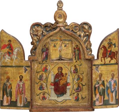 SEHR FEINES TRIPTYCHON MIT DER KREUZIGUNG CHRISTI, DER THRONENDEN GOTTESMUTTER, PROPHETEN UND HEILIGEN