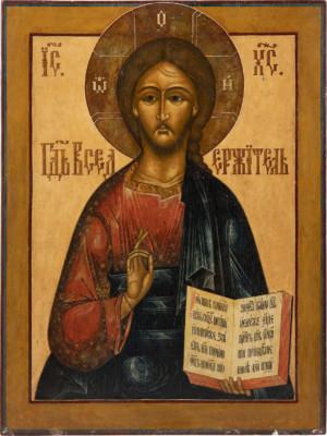 MONUMENTALE IKONE MIT CHRISTUS PANTOKRATOR AUS EINER KIRCHEN-IKONOSTASE