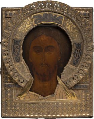 MUSEALE IKONE MIT CHRISTUS 'DAS GRIMME AUGE' MIT VERMEIL- UND NIELLO-RIZA